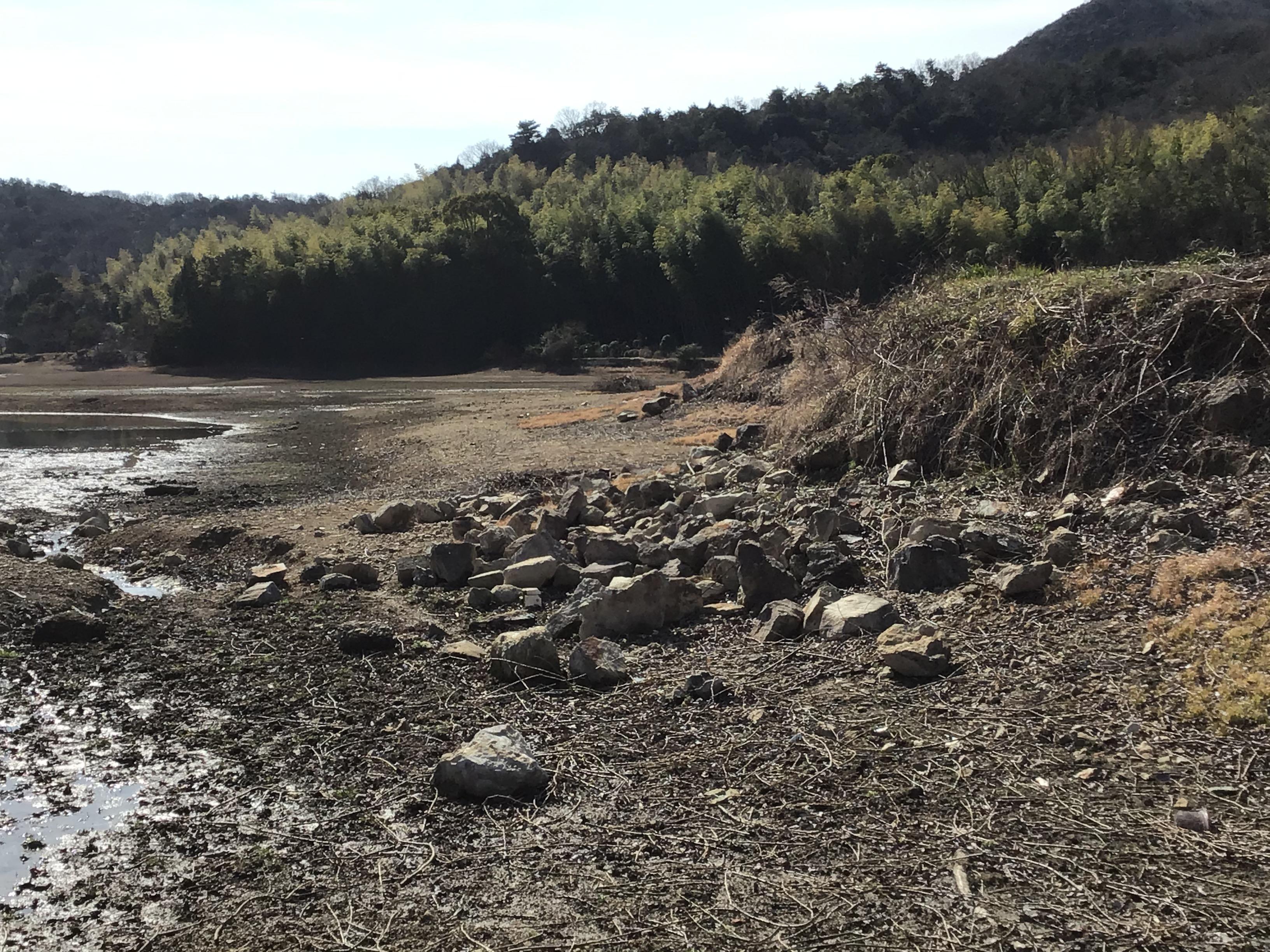 波により浸食された間知石