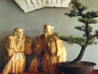盆栽と木彫り