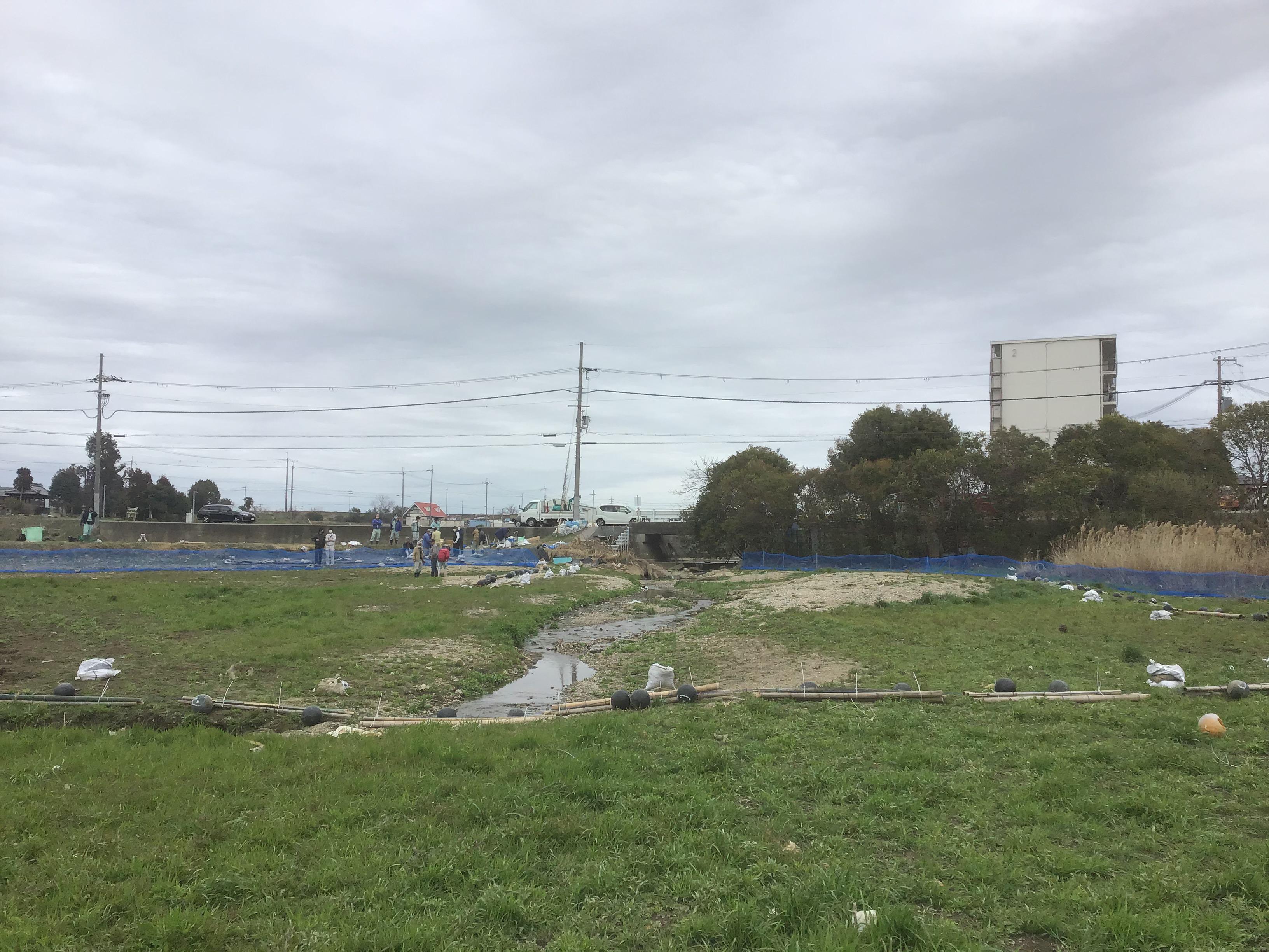 寛政池内から見た流入口(清水川)付近。手前横断がネットフェンス。奥の青いネットは漂着防止柵