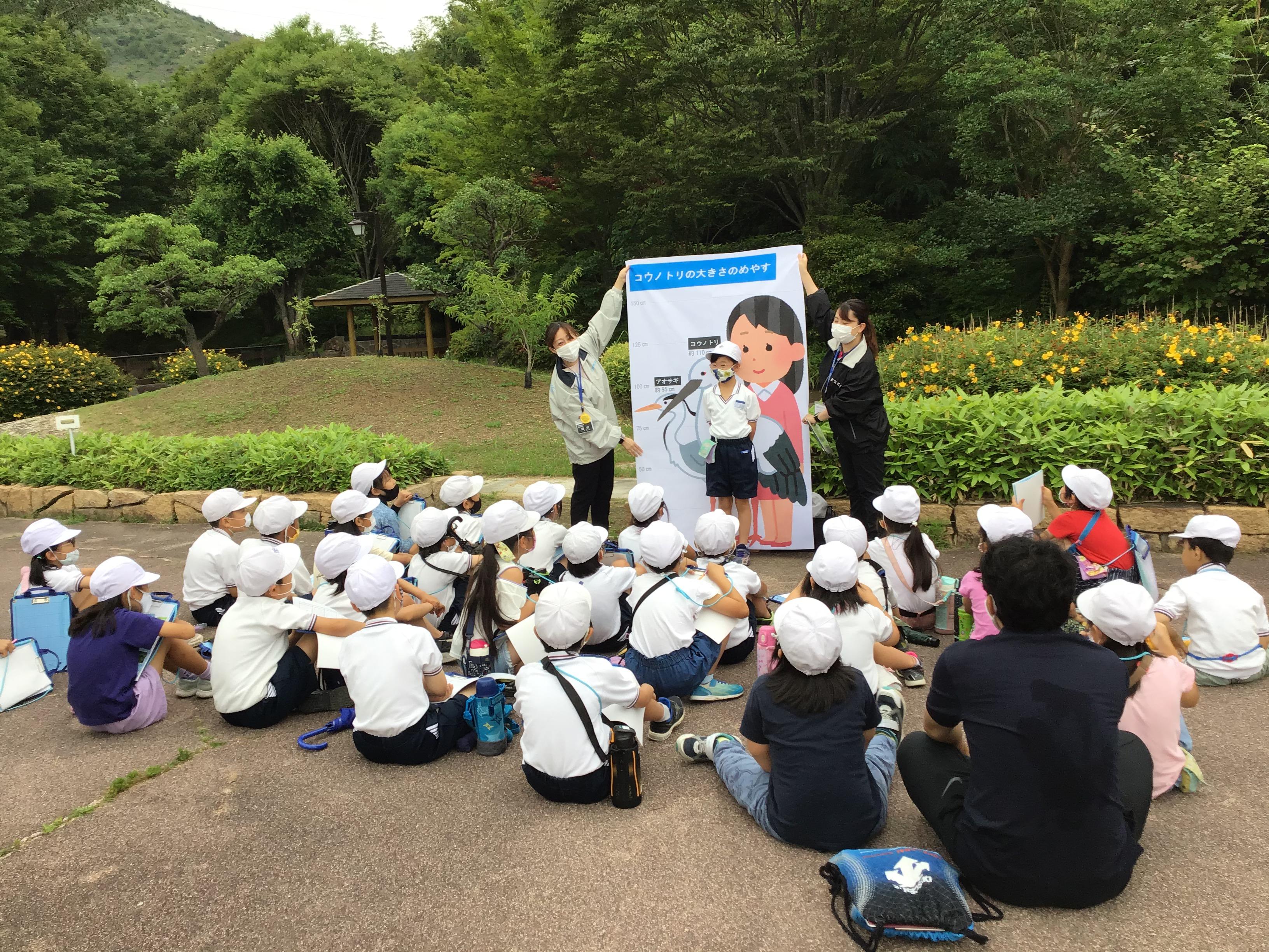 東播磨県民局の稲岡さんと福田さんがコウノトリについて説明。生徒さんに実際に立ってもらい大きさを見比べました。