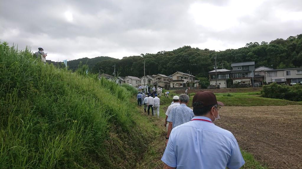 皿池前法尻を各協議会員が状況調査風景(事前に草刈りを行い水路の漏水状況を確認)
