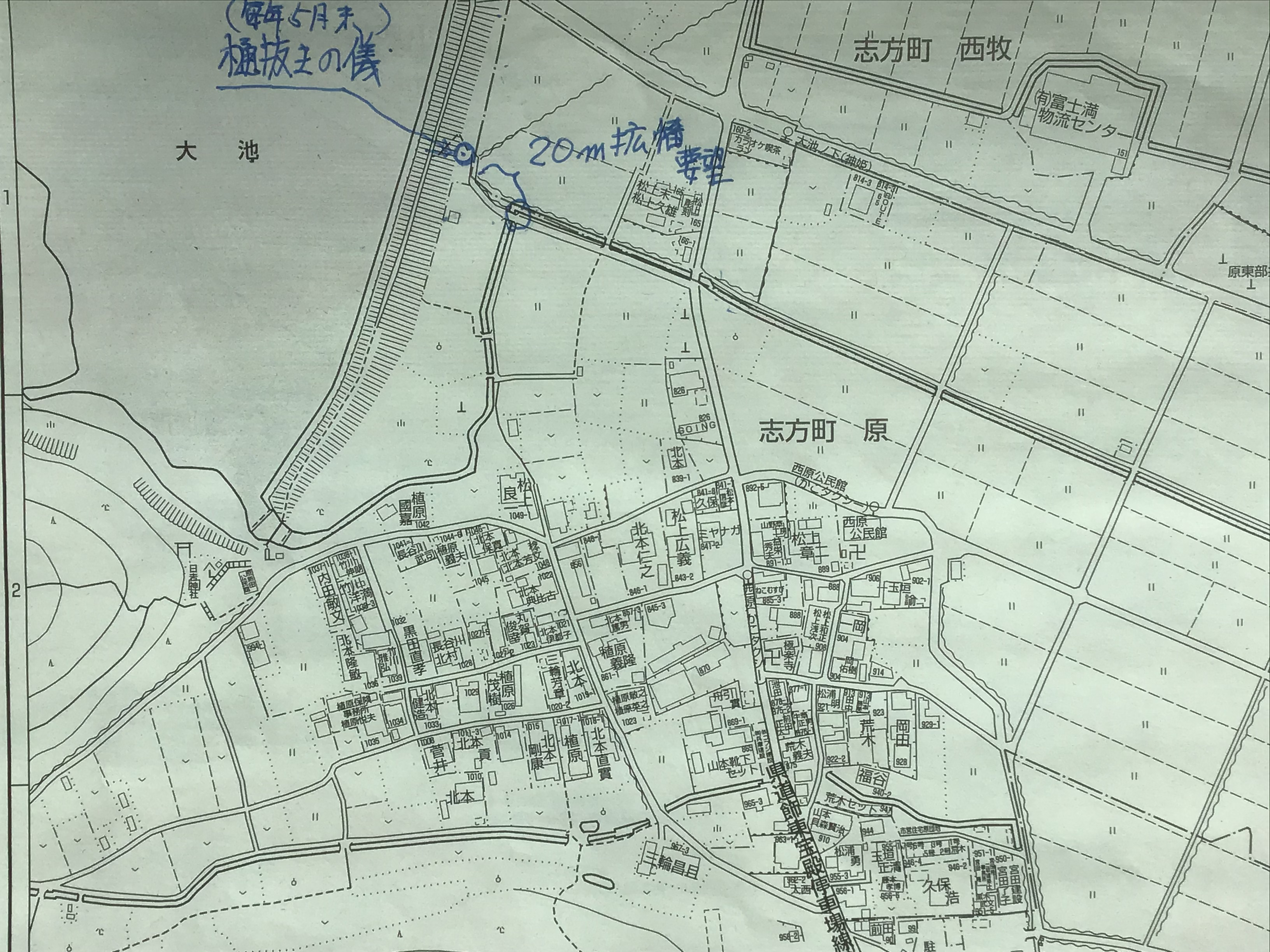 水路20m拡幅要望箇所(加古川市住宅地図より)