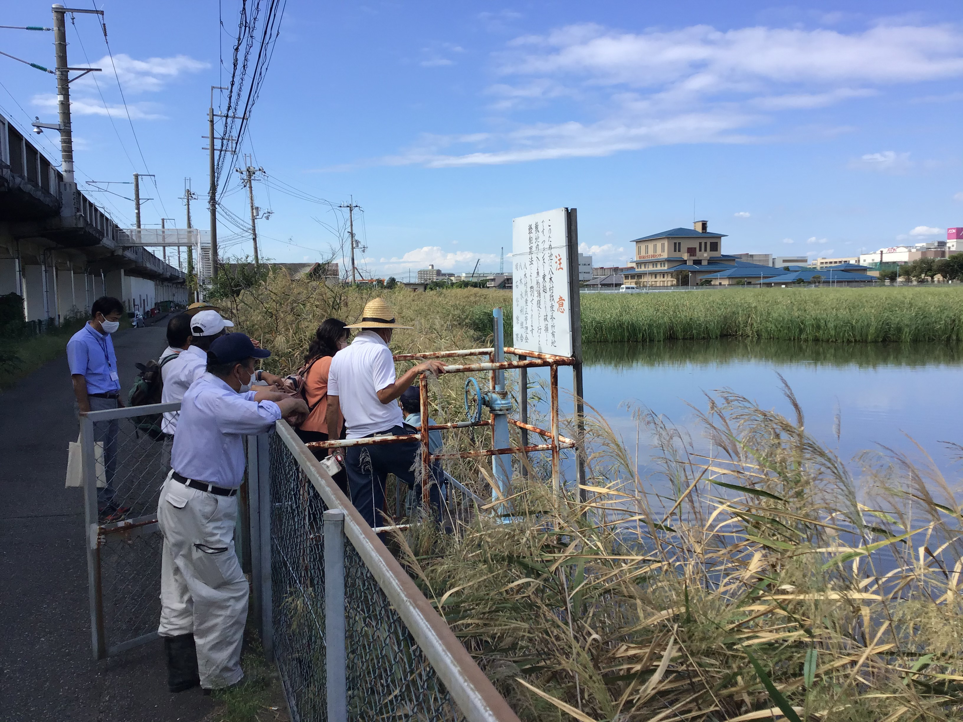 水面が見える場所の状況確認。写真左側は、山陽新幹線橋脚。