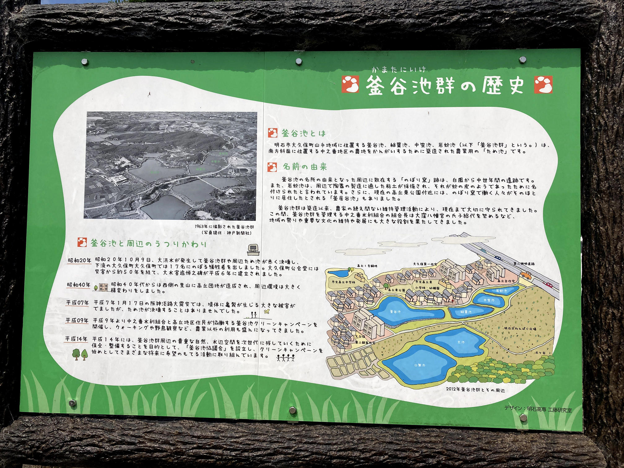 釜谷池群の歴史についての看板