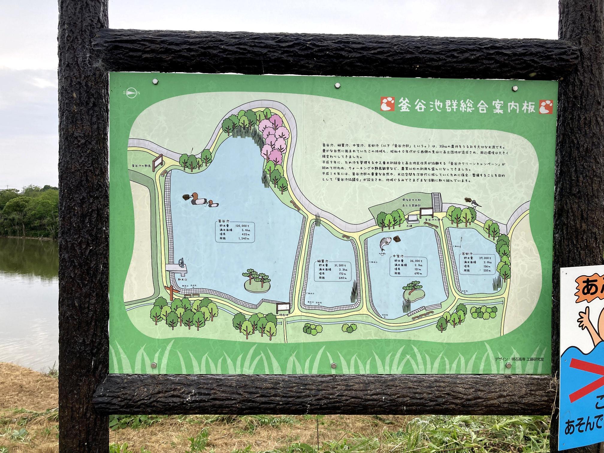 釜谷池群案内板。左から「釜谷池」「稲葉池」「中笠池」「岩蛇池」