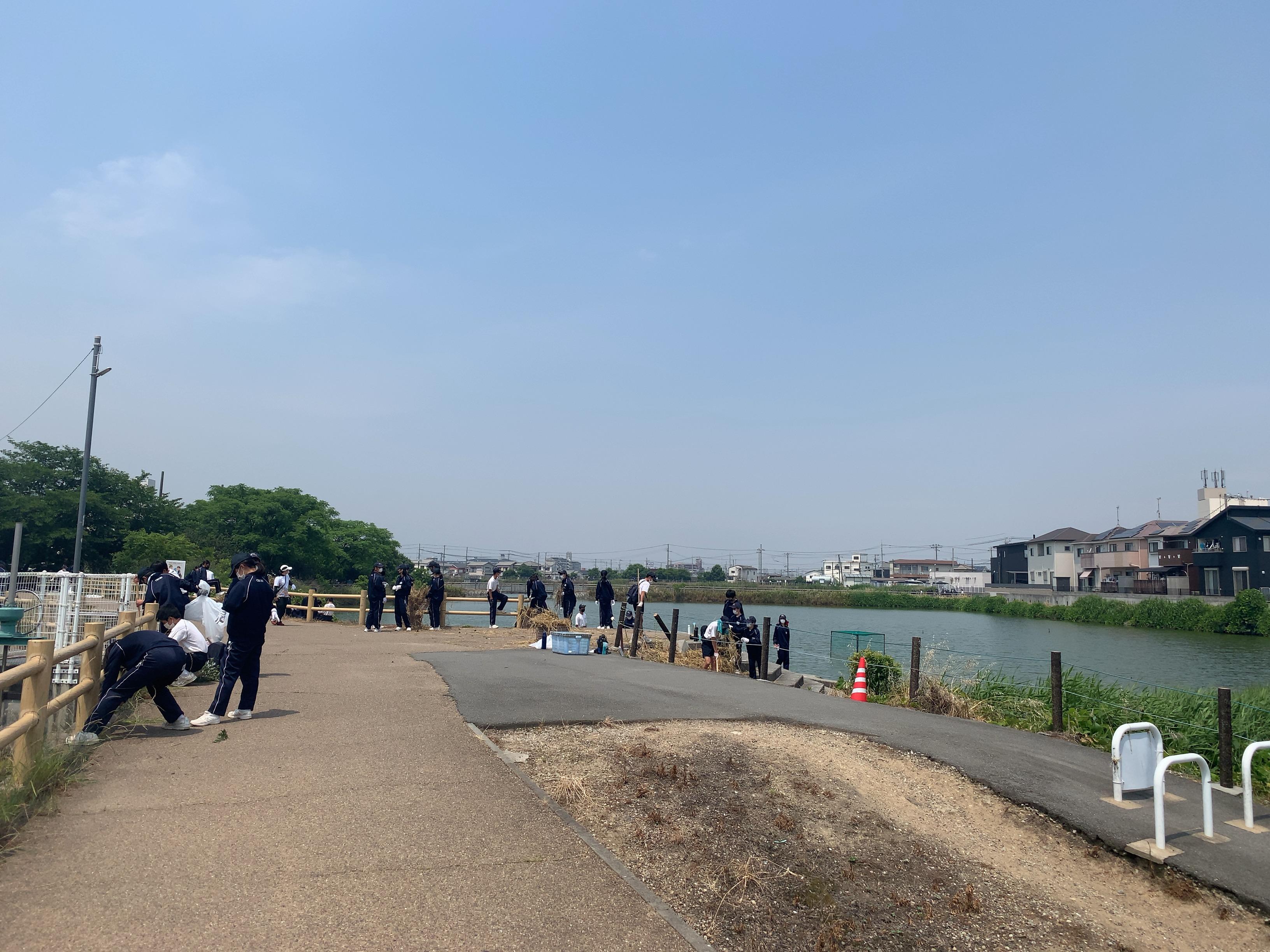ため池の遊歩道付近でゴミを拾う生徒たち。